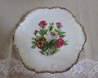 Rose wall plate decorative rose plate pink rose china plate wall decor plate shabby pink rose plate cottage style