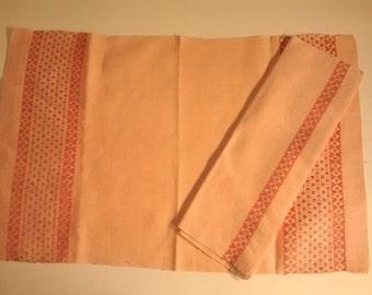 Vintage Pink Stripe Linen , Place mats and Napkins , Silver Fleck