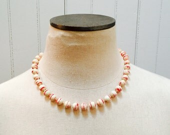 Vintage 1980s Red & White Peppermint Swirl Beaded Necklace