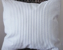 "Blue Ticking Pillow Cover, Decorative Pillow,  20"", 18"", 16"" 14"", Blue and Off-White"