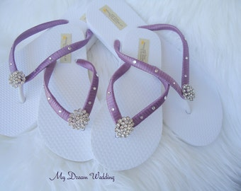 Bridal flip flops, Wedding flip flops, flip flops, flip flops for wedding guests, wedding flip flops in handmade, -BELLA Design-purple