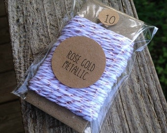 10 Yards - New Rose Gold Metallic Divine Twine Baker's  Twine / String • 100% Cotton • Eco Friendly • Gift Wrap • Bakery String