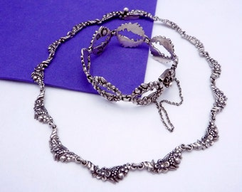 Vintage Margot de Taxco Mexican Sterling Silver Book Piece Necklace Bracelet 19670