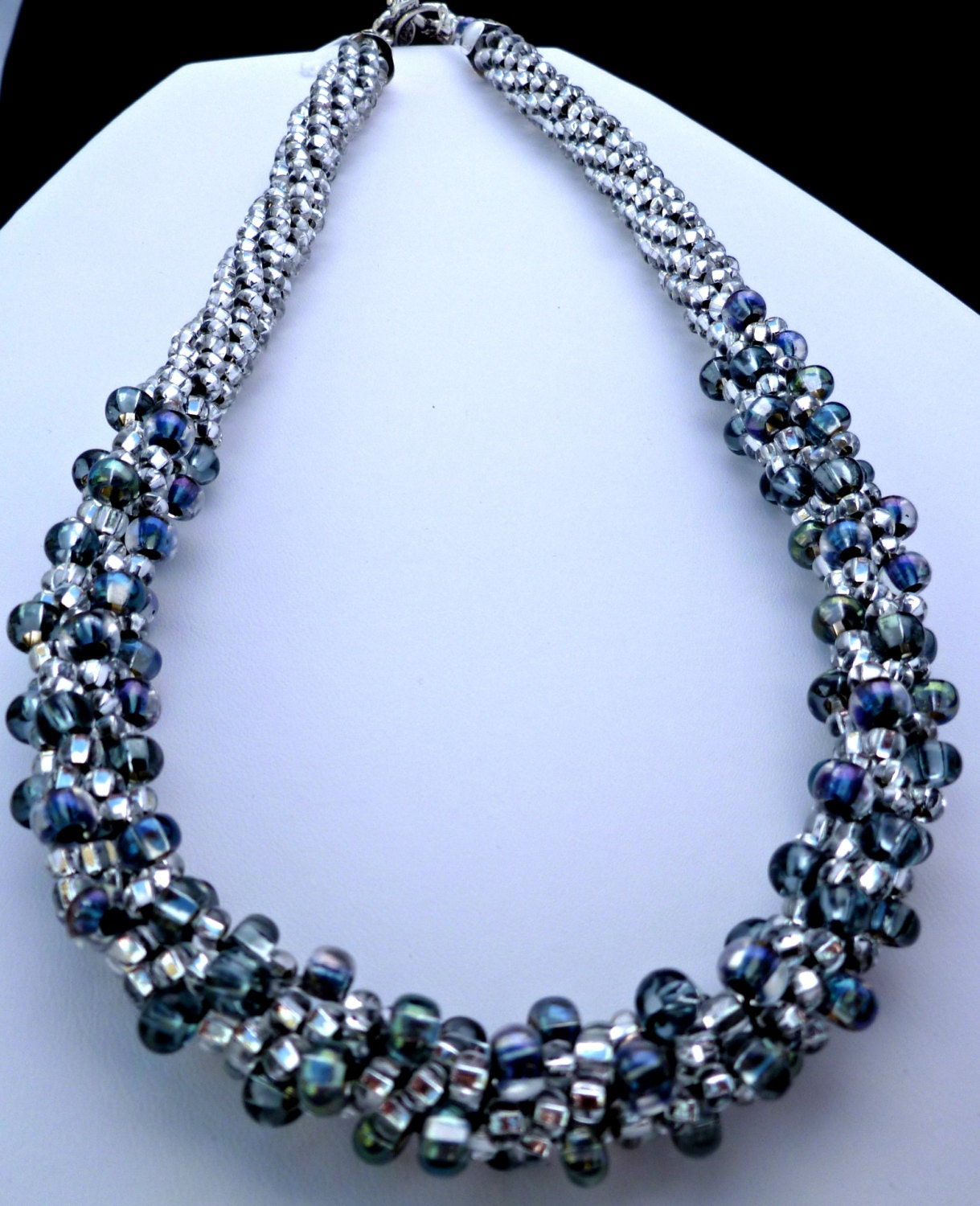 blue black beaded kumihimo necklace