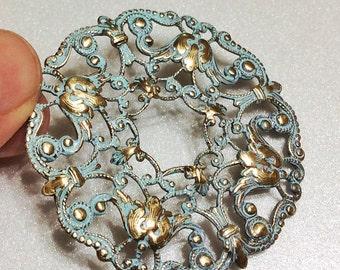 Brass Filigree Donut Pendant with Light Blue Verdigris - Gold Necklace Optional