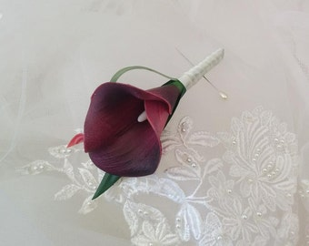 Wedding Natural Touch Eggplant Plum Calla Lily Silk Boutonniere