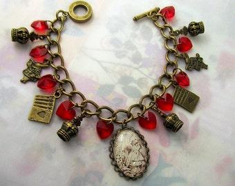 Alice In Wonderland Vintage inspired Charm bracelet, fairytale, gothic, lolita, dolly kei, mori girl