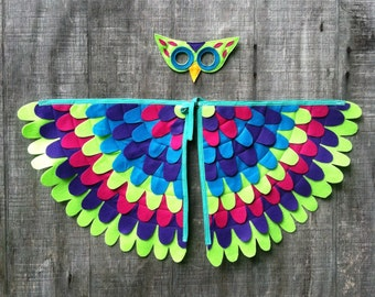 Magical OWL COSTUME, Wings and Mask: 0-24 months/ 2-5 years / 5-10 years- Eco Friendly!