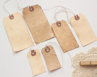 50 Vintage Travel Wedding Tags. Place Card. Name Tag. Escort Card. Wish Tree. Luggage Tag. Stained Dyed. Boho. Bohemian. WITH STRINGS.