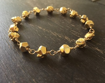 Pyrite Bracelet - Gold Nugget Jewelry - Gemstone Jewellery - Wire Wrapped - Fashion - Trendy