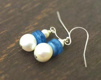 Blue Earrings - Kyanite and Pearl Jewelry - Gemstone Jewellery - Sterling Silver - Fashion