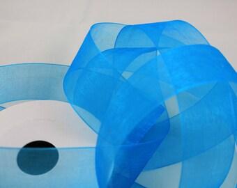 "1 1/2"" Organza Ribbon -  Turquoise - Full Spool - 25 yards"