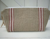 Rustic Burlap Linen Striped Fabric Makeup Bag Farmhouse Chic Enter Coupon Code SALE50 and Save 50%