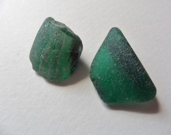 2 imperfect but pretty green sea glass - Lovely English beach find pieces