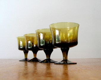 Four Vintage Milnor Sweden Glass Goblets - Denby Mirage