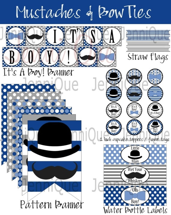printable mustache and bow tie baby shower kit bow ties mustaches