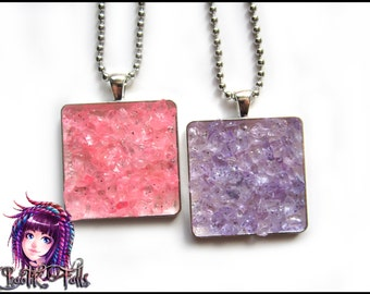 Pink OR Purple Quartz Crystal Inspired Pendant Necklace
