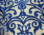 """Lace Dress Costumes Gowns  54"""" Wide Blue Damask 2 Way Stretch High Quality Stitch Fabric Sold Per Yard"""
