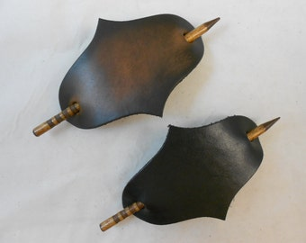 2 Very Large Hand Crafted Leather Stick Hair Barrette, Brown or Black