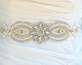 SALE - Wedding Belt, Bridal Belt, Sash Belt, Crystal Rhinestone & Off White Pearls party sash