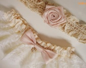 Customized your own bridal rustic vintage inspired wedding garter / pink blush garter / lace keepsake