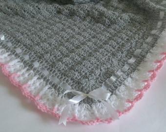 Crochet Baby Blanket, Gray, White, and Pink, Satin Ribbon White, Baby Shower Gift, Baby Girl Afghan