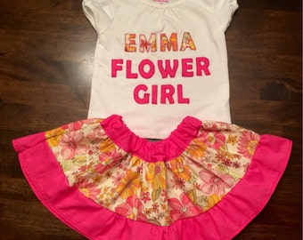 Flower Girl Outfit Customized Skirt and Coordinating T-Shirt Choose your Own Fabrics to Coordinate with your Special Day