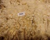 Coated Romney Fleece - White Wool - 5.5 Pounds - Soft, Lustrous Fleece - Very Clean