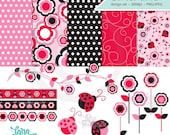 Ladybug Clipart, Ladybug Papers, Ladybug Background, Flower Clipart, Digital Papers