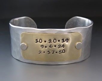 Personalized Gold & Silver Metal Cuff Bracelet / Custom Hand Stamped Gifts for Her / Gifts for Mom / Anniversary Gifts / One of A Kind Gifts