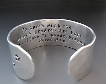 Silver Peter Pan Bracelet -  Second Star to the Right - So Come With Me Where Dreams are Born