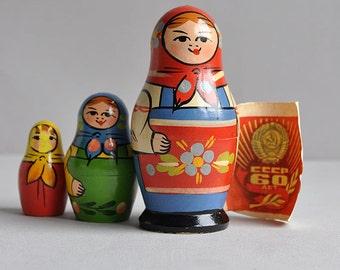 SALE! Soviet Matryoshka Nesting Dolls - Set of 3