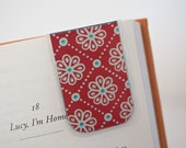 Laminated Bookmark, Magnetic Bookmark, Magnetic Bookmarks, Red Blue Silver Abstract Flower Bookmark