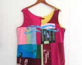 3XL. 3x large womens. Upcycled Pop Top. tank top. pink, red, yellow, blue, raindrop theme, candy colors