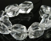 GREAT SALE - was 7.99 - Rock Crystal Quartz Smooth Simple Cut Small Nugget Bead - 11.5mm~12.5mm - 8 beads - B3037