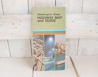 Vintage Washington state road map highway street guide 1978