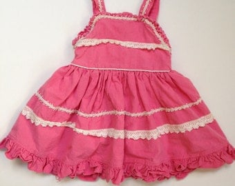 Pink Lacey Toddler Dress-Size 1