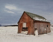 Snowy Barn Western Gothic western US - 11 x 14 print