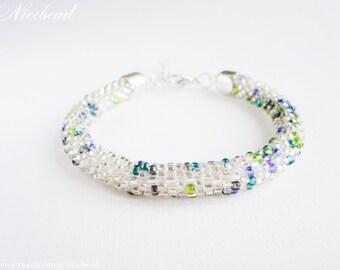 White bracelet, white bead rope bracelet, silvery rope bracelet, bead rope bracelet, rope bracelet, white rope bracelet, white wedding