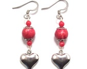 Red Coral Silver Heart Earrings