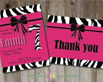 Pink Zebra Birthday Invitation and matching Thank You. Personalized Pink Zebra Invite. Pink Zebra Birthday. Custom Birthday Invitation.
