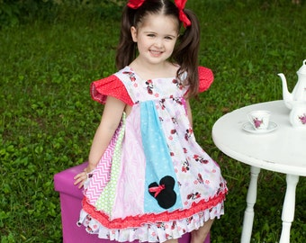 Girls Toddler Minnie Mouse Disney Flutter tunic Knit ruffle shorts 2T-6x