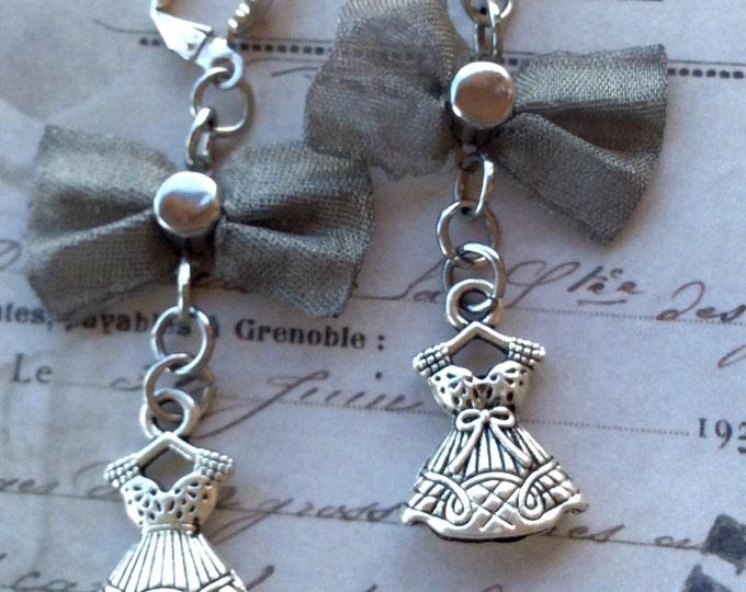 Jewelry, Earrings, Vintage Earrings, Dress Charm Earrings, Silver Metal Earrings, Silver Bow Earrings, Earrings for Women