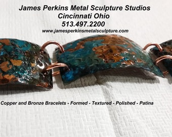 3 Pc. Textured Copper Bracelet with Beautiful Patina