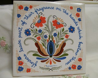 Vintage Berggren Tile, Tole Flowers, Tile Trivet, Hot Pad, Painted Ceramic Scandinavian inspired Tile, Circa 1970s