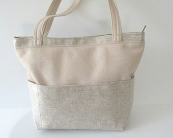vegan purse, outside pockets over the shoulder bag, city bag, roomy bag, chic bag, off white bag