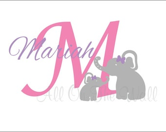 Elephant Wall Decal Elephant Nursery Wall Art Baby Boy Name Decals Baby Girl Name Nursery Decals Elephant Theme Wall Stickers