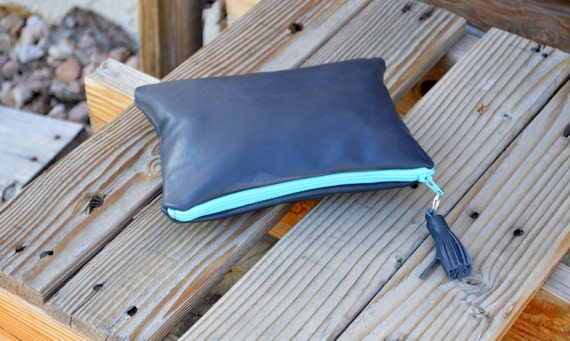 Leather Pouch- Medium Leather Pouch- Make-up Pouch- Zippered Pouch - Ready to Ship