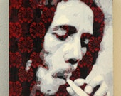Bob Marley Smoking Graffiti Stencil Art Painting on Woodgrain