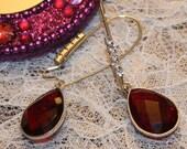 Natural Garnet Stone Rhinestones  Silver Plated Dangle Earrings